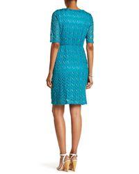 Sandra Darren Blue Metallic Lace Dress