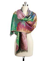 Saachi - Green Gold Silk Botanical Wrap - Lyst