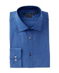 John Varvatos - Blue Classic Solid Regular Fit Dress Shirt for Men - Lyst