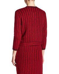 Anne Klein Red Houndstooth Knit Cardigan