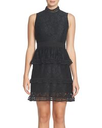 Cece - Black Brea Tiered Lace Sheath Dress - Lyst