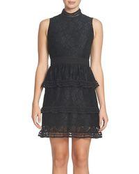 Cece by Cynthia Steffe - Black Brea Tiered Lace Sheath Dress - Lyst