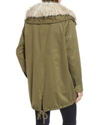 Sam Edelman Green Faux Fur Collar A-line Anorak (regular & Petite)