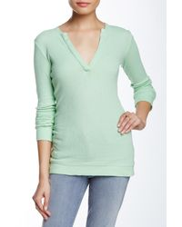 Go Couture - Green Split Neck Thermal Tee - Lyst