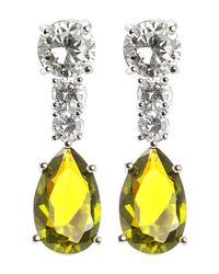 Kenneth Jay Lane - Yellow Prong Set Multicolored Round & Pear Cut Cz Drop Earrings - Lyst