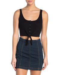 Cotton On Black Bonnie Button Tie Front Crop Top