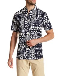 Surfside Supply Blue Short Sleeve Geometric Print Regular Fit Woven Shirt for men