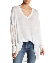 Free People White Never Give Up Dolman Linen Blend Tunic