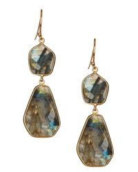 Argento Vivo - Metallic 18k Gold Plated Sterling Silver Geo Stone Double Drop Earrings - Lyst