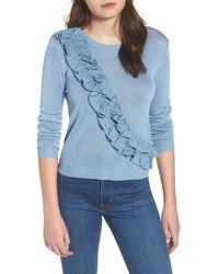 Lost Ink - Blue Asymmetrical Ruffle Sweater - Lyst