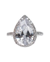 Kenneth Jay Lane - Metallic Pear Cz Pave Halo Shank Ring - Lyst