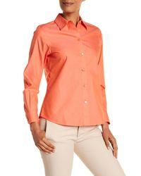 Foxcroft - Orange Diane Long Sleeve Shaped Blouse - Lyst
