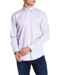 Bugatchi Purple Long Sleeve Solid Shaped Fit Woven Shirt for men