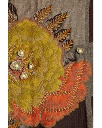 Saachi - Brown Embroidered Floral Blanket Wrap - Lyst
