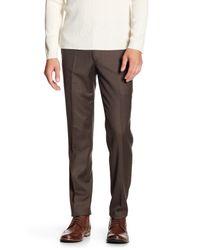 "Louis Raphael Brown Solid Stretch Dress Slim Fit Pant - 30-34"" Inseam for men"