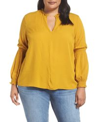 1.STATE Yellow Smocked Sleeve Blouse (plus Size)