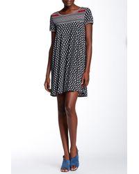 Max Studio - Black Short Sleeve Printed Shift Dress - Lyst