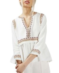 TOPSHOP | White Embroidered Peplum Peasant Blouse | Lyst