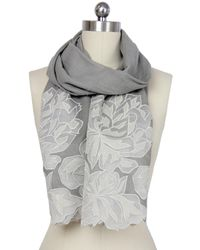 Saachi | Gray Oyster Grey Royal Garden Lace Border Wool Wrap | Lyst