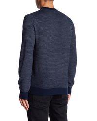 Tocco Toscano Blue Barleycorn Tonal Crew Sweater for men