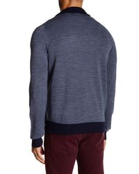 Tocco Toscano - Blue Birdseye Quarter Zip Mock Neck Sweater for Men - Lyst