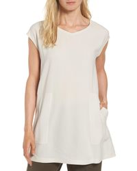 Eileen Fisher White Silk Crepe Tunic