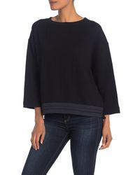 Vince Black Mixed Media Pullover Sweatshirt