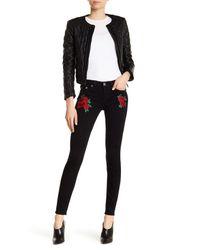 True Religion - Black Rose Embroidered Super-skinny Jeans - Lyst