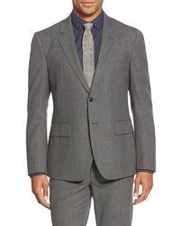 Haspel Gray 'journeyman' Trim Fit Solid Wool Suit for men