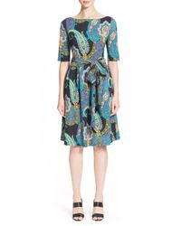 Etro - Black Paisley Print Jersey Wrap Dress - Lyst