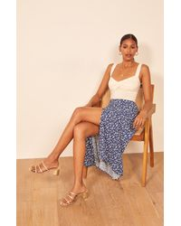 Reformation Blue Zoe Side Slit Midi Skirt