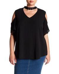 Breathless Black Cold Shoulder Lace Detail Shirt (plus Size)