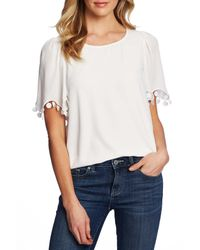 Cece by Cynthia Steffe White Pompom Detail Short Sleeve Top