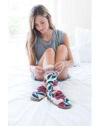 Muk Luks | Blue Vanessa Lace Cuff Slipper | Lyst