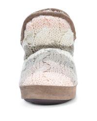 Muk Luks | Brown Pennley Faux Fur Lined Striped Knit Bootie Slipper | Lyst