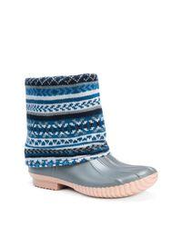 Muk Luks | Blue Sydney Cuffed Rainboot | Lyst