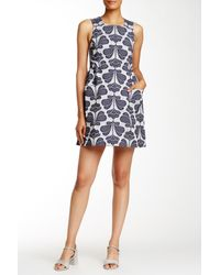 Orla Kiely - Blue Floral Jacquard Pinafore Dress - Lyst