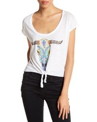Chaser - White Front Tie Graphic Oversized Tee - Lyst
