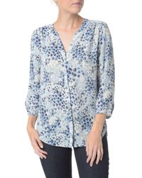 NYDJ - Blue Printed Button Blouse - Lyst