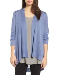 Eileen Fisher - Blue (r) & Merino Wool Shaped Cardigan - Lyst