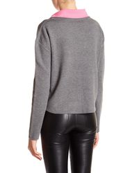 MILLY - Gray Solid Turtleneck Pullover - Lyst