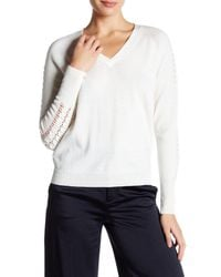MILLY | White Shirred Pointelle Wool Sweater | Lyst