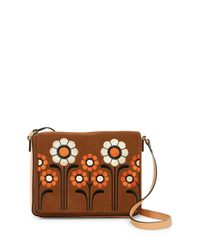 Orla Kiely Brown Suede Embroidery Rosemary Shoulder Bag