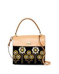 Orla Kiely Black Suede Embroidery Large Cicely Shoulder Bag
