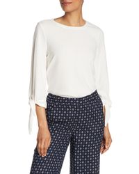Vince Camuto White Elbow Tie Top