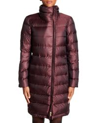 Cole Haan Red Quilted Asymmetrical Zip Down Coat