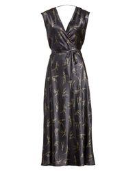 Vince - Multicolor Spring Floral Faux Wrap Silk Dress - Lyst