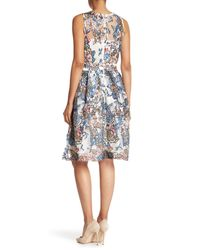 Alexia Admor Blue Sequined Embroidered Fit & Flare Dress
