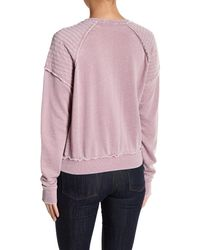 Romeo and Juliet Couture - Purple Solid Top Stitch Detailed Shoulder Sweater - Lyst