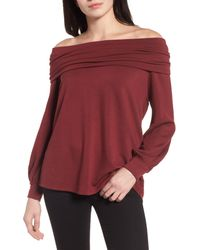 Caslon - Red Caslon Convertible Neck Sweatshirt - Lyst
